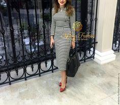 Купить Платье футляр гусиная лапка - чёрно-белый, однотонный, платье офисное, платье летнее