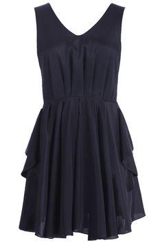 Cut-out Back Pleated Black Dress  #romwe