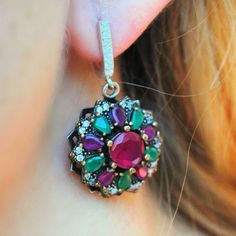 Sterling Emerald and Ruby Earrings. Love these earrings from Rica Jewelry!