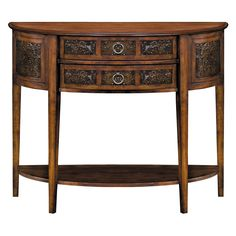 The Castille console features a demilune shape, a rich walnut finish and gently tapered legs. Designed with a look that infuses traditional and vintage styles, this console table will look outstanding in any room of your home or business.