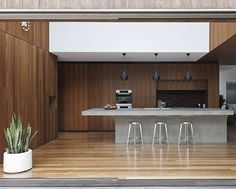 Contemporary Flipped House in Sydney, Australia - Home Design and Home Interior Timber Kitchen, Concrete Kitchen, Kitchen Doors, Concrete Bench, Kitchen Industrial, Wooden Kitchen, Concrete Countertops, Kitchen Island Bench, Kitchen Benches