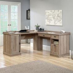 Sauder Barrister Lane L Shaped Desk in Salt Oak