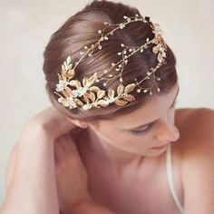 Handmade Ribbon ,Gold Leaves ,Pearl Headband Crystal Hair Jewelry Wedding Hair Accessories Romantic Bridal Tiara Crowns Headdress by Comebackshop on Etsy Crystal Hair, Crystal Headband, Pearl Headband, Bohemian Headband, Bohemian Hair, Tie Headband, Bridal Tiara, Headpiece Wedding, Bridal Headpieces
