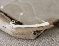Silver Bar Necklace, .925, 14k Gold Fill Accent, Minimalist