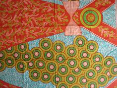 Circles and bows African wax print batik fabric BY by ChilliPeppa, £5.00