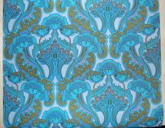 Poppies.  Blue art nouveau wallpaper vinyl coated by mumxie.  My guess is that these colors have been quite intensified as a modern change.