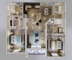Floor plan 3D 2 bedroom Sims House Plans, House Layout Plans, Small House Plans, House Layouts, House Floor Plans, Small Space Interior Design, Home Room Design, Home Design Plans, Apartment Layout
