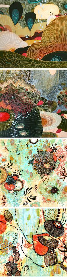 Yellena James paintings - acrylic on wood : Meadow /  Stasis .... pen and ink on paper : Origin / Vessel http://yellena.com/newgallery/paintings/gallery_vs.html