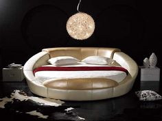 Round Bed Frame from Leather Material