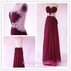 Aline Floorlength Maroon Chiffon Prom DressLong by Beautydresssale