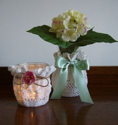 Angel in the North blog doily DIY vase cover