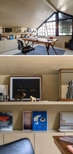 This modern home office that sits above a garage has walls lined in limed hoop pine boards with a matching bookshelf and flooring.