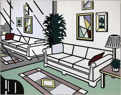 Roy Lichtenstein, Intérieur avec un mur couvert d'un miroir, XXe siècle, huile sur toile, 320.4 x 406.4 cm, NY, Guggenheim.