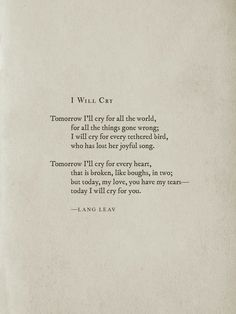 I Will Cry by Lang Leav