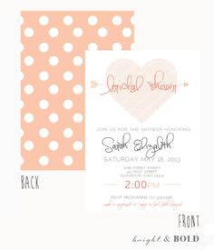 Bridal Shower Invitation Vintage- Pink-Pokodot, Heart