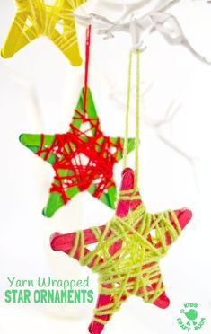 Christmas Crafts eyfs YARN WRAPPED STAR ORNAMENTS are a fun popsicle stick craft to build fine motor skills. They look great hanging on the Christmas tree, as a bedroom mobile or for a Space themed study topic. Preschool Christmas, Christmas Crafts For Kids, Christmas Activities, Diy Christmas Ornaments, Simple Christmas, Christmas Projects, Holiday Crafts, Christmas Stars, Christmas Tree Decorations For Kids