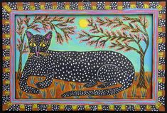 """""""Spotted Cat and Branches in Bloom"""" by Sarah Rakes acrylic on wood in artist's hand painted frame 8.5"""" x 12.5"""" $295 #11912"""