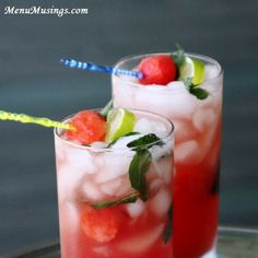 Menu Musings of a Modern American Mom: Watermelon Mojito Coolers (with or without alcohol)