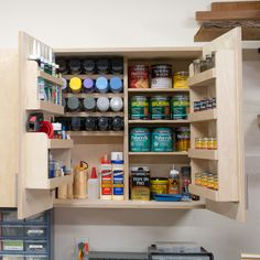 DIY Wall Cabinets with 5 Storage Options – Garage Organization DIY Paint Storage, Storage Design, Storage Ideas, Plans Loft, Cabinet Plans, Workshop Storage, Workshop Ideas, Wood Workshop, Workshop Cabinets