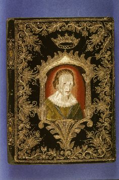 English Date: c. 1625 Image description: Dark green velvet binding embroidered on each cover with a portrait of George Villiers, Duke of Buckingham, to whom this edition was dedicated. The portrait is copied from an engraving by S. de Passe.