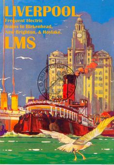An unframed Vintage railway advertising poster of Liverpool to New Brighton LMS Liverpool Poster, Liverpool Life, Liverpool History, Art Deco Posters, Retro Posters, Vintage Travel Posters, Tourism Poster, Poster Ads, Advertising Poster