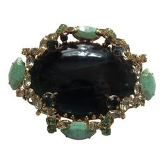 Ornate Large Emerald Glass And Rhinestone by CollectionsbyAnn