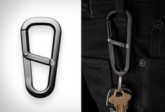 EDC masters The James Brand have introduced a new minimal carry solution, the Hardin Carabiner. Hot-forged from high-grade aluminum stock and built with a dual-compartment to better secure your keys, the sleek, slim, and lightweight Hardin is the nex Electronics Gadgets, Tech Gadgets, Music Gadgets, Key Carabiner, Sailing Jacket, Korean Brands, Edc Everyday Carry, Track Workout, Tech Gifts