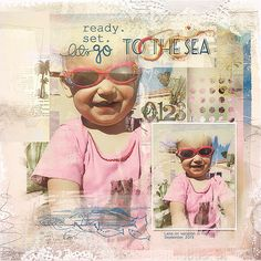 An artsy digital scrapbook page I (Margje) made from my grandchild on vacation, with At The Beach ValuePack No. 2 http://www.oscraps.com/shop/At-The-Beach-ValuePack-No.-2.html from Anna Aspnes