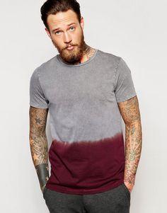 Image 1 ofASOS T-Shirt With Acid Wash And Dip Dye