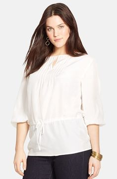Lauren Ralph Lauren Pintuck Pleat Keyhole Blouse (Plus Size) available at #Nordstrom
