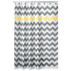 Interdesign X Chevron Shower Curtain In Yellow/grey grey/yellow Ombre Shower Curtain, Shower Curtain Hooks, Fabric Shower Curtains, Chevron Fabric, Chevron Patterns, Chevron Bedding, Elegant Curtains, Rustic Bathrooms, Bathroom Kids