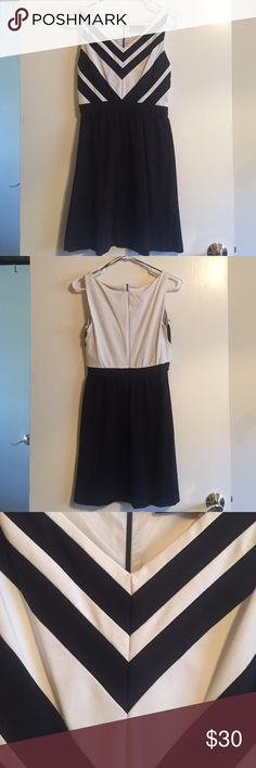 Color block dress Black and white dress. Fitted to waistline with a flowy skirt. Has a flattering v-neck and pattern. Practically new! Dresses