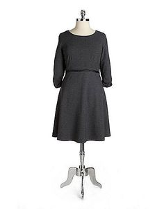 Women's Apparel | Dresses | Plus Ponte Knit A-Line Dress | Lord and Taylor