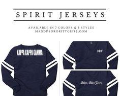 Kappa Kappa Gamma Spirit Jerseys Available in 7 colors & 5 styles #kkg #kappa #kappakappagamma