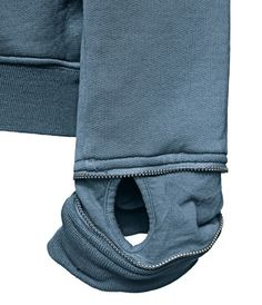 60109 HOODED SWEATSHIRT_CO FELPA MERCERIZED Hooded sweatshirt in mercerized cotton fleece. Garment dyed. Patch pockets under a horizontal cut on the front, with diagonal entrance and crease forming a dart. Ribbed cuffs rimmed by an adjustable metal zip concealing a ribbed jersey fingerless glove. Ribbed bottom hem. Metal zip fastening slightly off-centre and snap fasteners mounted on cotton tape, also found on the hood edging.: