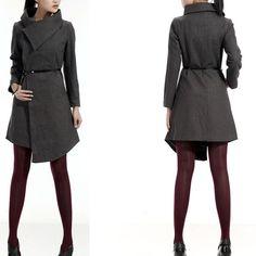 big collar wool coat FM011, FM908, Etsy. Love this coat!! Asymmetric hem and huge collar... Gorgeous.