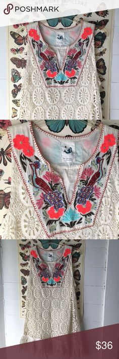 """Anthropologie Mermaid Ivory Boho Fringed Top, XS Lovely fringed, embroidered boho top from Mermaid Anthro. Chest width: 18"""" Length: 32"""" Anthropologie Tops Blouses"""
