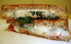 Honey-Basil grilled cheese with tomatoes, fontina and mozzarella- Yuuummmmm