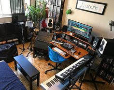 A nice balance of gear in this home studio. By @audio4n6 #musicstudio #musicproducer