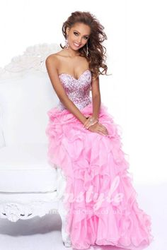 sparkle beaded strapless sweetheart pink long prom dress with ruffled tiered skirt