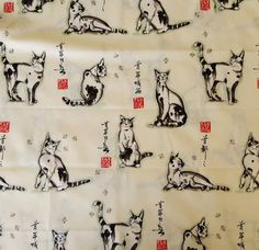 Haiku Cat Black & Red on Cream Fabric Alexander Henry Collection 1998 Phillip De Leon Cotton Quilt Sew Kittens Cats by GenerationsEstate on Etsy #HaikuCat #Fabric #Cats #Kittens #Quilt #Sew #AlexanderHenry #PhillipDeLeon generationsest.com