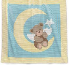 Crochet Pattern Baby Blanket - Angel Bear (Row-by-Row) Baby Blanket Size, Baby Blanket Crochet, Crochet Baby, Crochet Afghans, Afghan Crochet Patterns, Knitting Patterns, Pattern Baby, Baby Patterns, Angel Bear