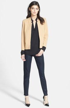 Trouvé Blazer, Ro & De V-Neck Blouse & Paige Denim Jeans  available at #Nordstrom