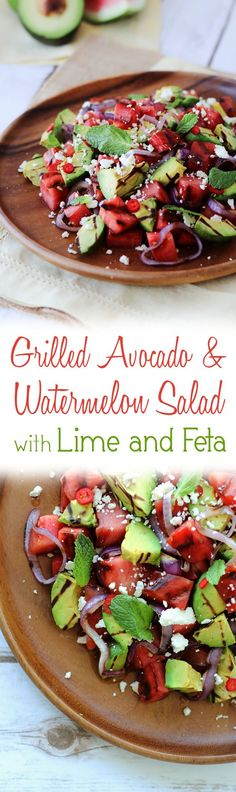 This gluten free Grilled Watermelon and Avocado Salad with lime vinaigrette and feta cheese will become a staple at your Fathers Day BBQ.