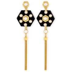 Henri Bendel Hex Pearl Linear Earring (4,625 DOP) ❤ liked on Polyvore featuring jewelry, earrings, gold, white pearl earrings, pearl jewelry, henri bendel, pearl jewellery and linear earrings