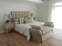 FLUTED HEADBOARD & BACKLESS SOFA AS BED END, IN NATURAL LINEN