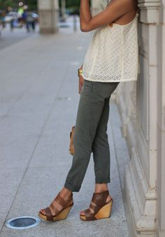 flowy lace top + chinos