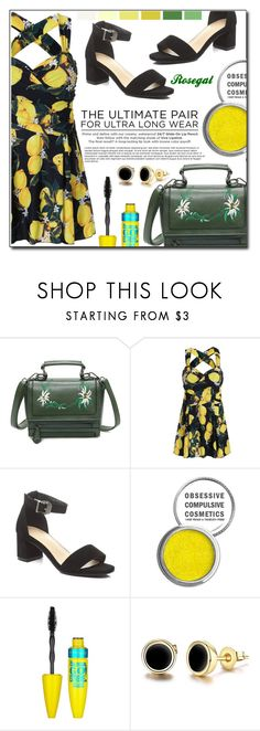 """Lemon Print High Waist Plus Size Swimdress - Yellow"" by fashion-pol ❤ liked on Polyvore featuring Obsessive Compulsive Cosmetics, Maybelline, Urban Decay and Seed Design"