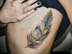 Feather tattoo color