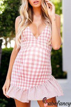 Pink Plaid Cotton Plunge Open Back Chic Women Cami Mini Dress Bohemia Dress, Going Out Outfits, Modest Dresses, Mini Dresses, Sexy Dresses, Dress With Boots, Dress Shoes, Ladies Dress Design, Ruffle Dress